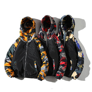 New colorblock cotton jacket loose hooded camouflage cotton jacket