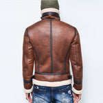 Motorcycle leather flight jacket