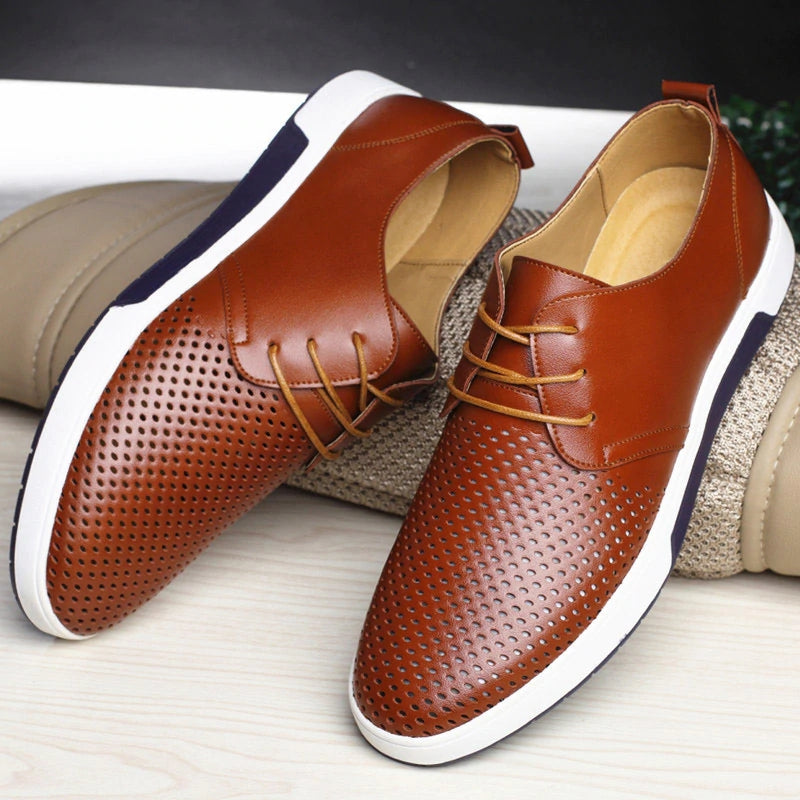 Men Casual Shoes Leather Summer Breathable Holes Luxury Brand Flat Shoes - freakichic