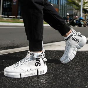 Men's canvas shoes white casual shoes - freakichic