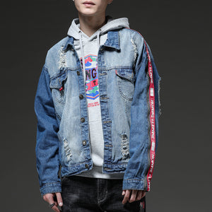 casual long sleeve cotton baggy denim jacket - freakichic