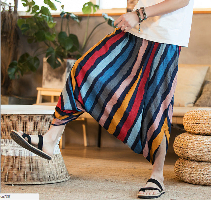 Large size Chinese style men's tassel pants wide leg pants - freakichic