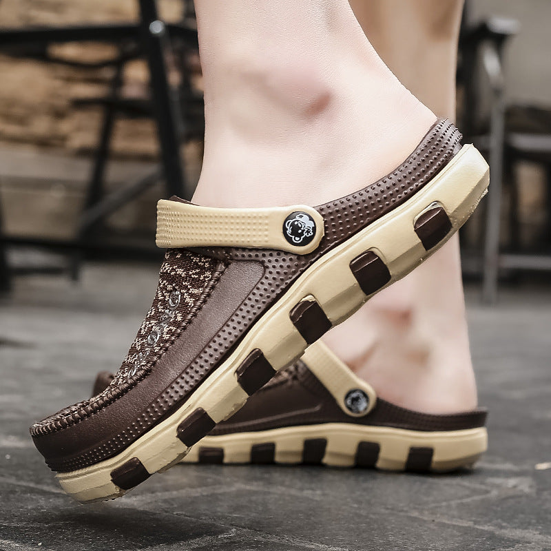 Summer new breathable flying woven men's sandals and slippers
