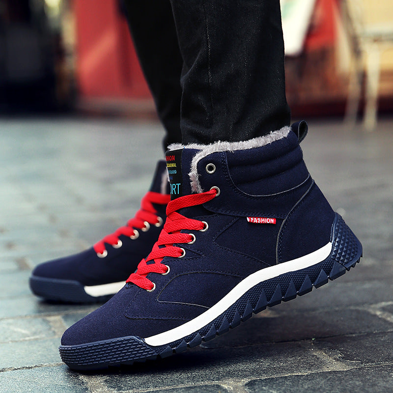Men's Suede  Hot Plush Snowy Outdoor Waterproof Sports Running Shoes