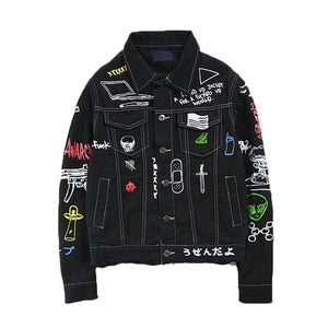 Hip-hop hole graffiti printing men's denim jacket - freakichic