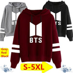 New Style Fashion Long Sleeve BTS Printed Striped Hoodies Casual Loose Hooded Pullover Sweatshirts