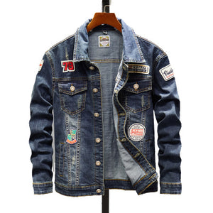 Male slim denim jacket - freakichic