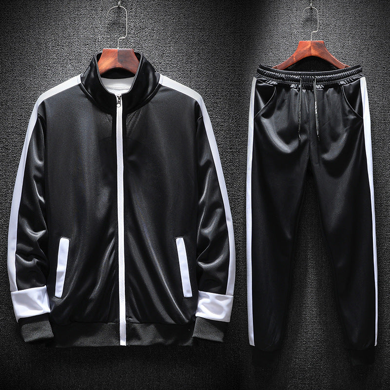 Men's Sportswear Sets Casual Patchwork Zipper Sweater