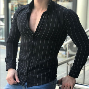 Lapel button stripe slim long sleeve sexy men's shirt - freakichic