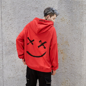 Men Hoodies Sweatshirts Smile Print Headwear Hoodie - freakichic