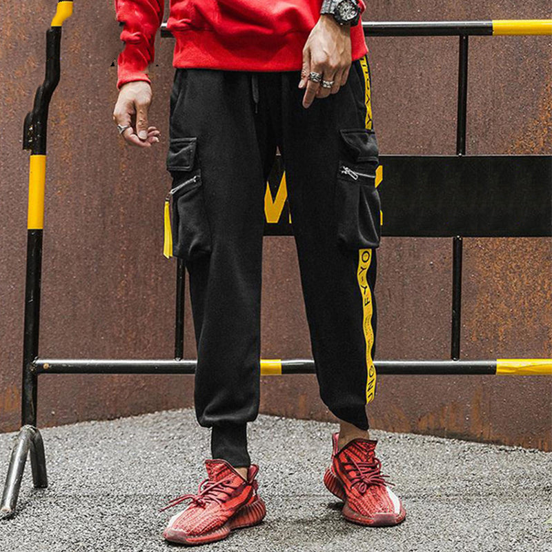 Men's Hip Hop Sweatpant Yellow Ribbon Side Striped Pants 100 Cotton Sweat Tactical Pant - freakichic