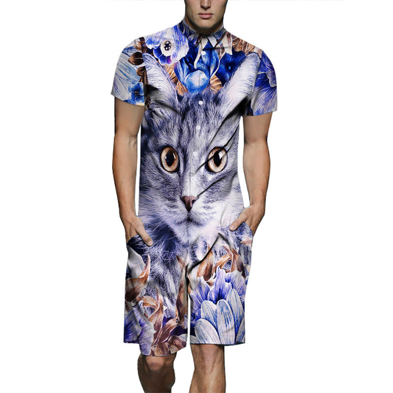 Plus Size Men's Romper Jumpsuit Short Sleeves 3D Cartoon Graphic Designer