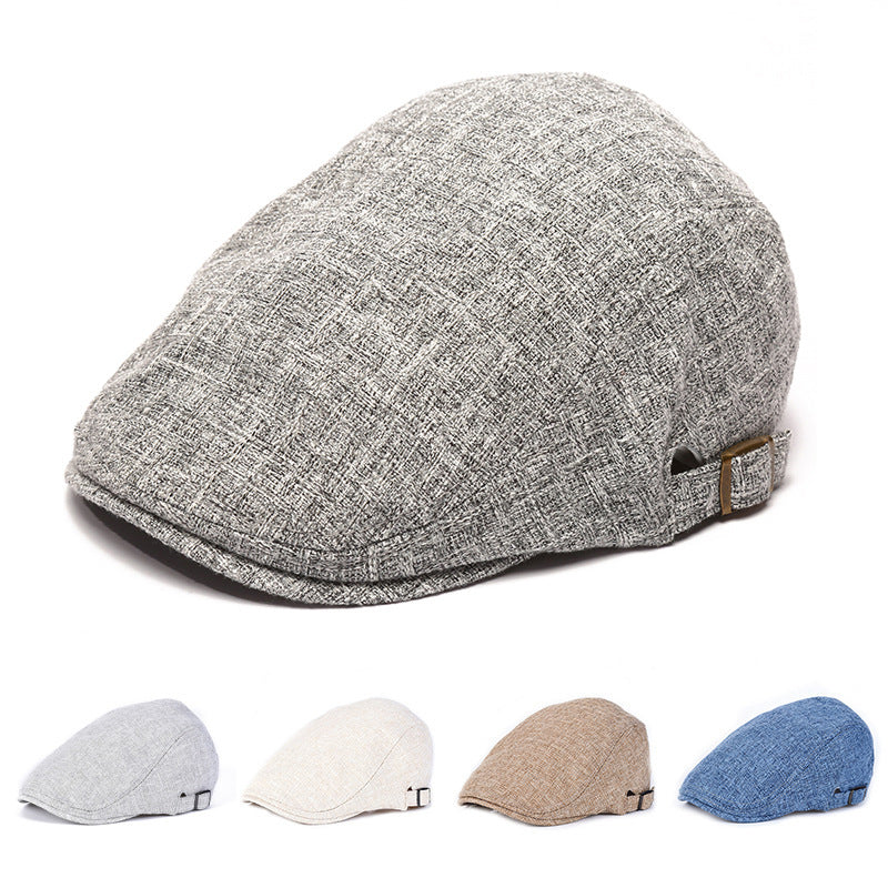 Linen breathable shade beret men summer outdoor casual cap cotton linen beret - freakichic