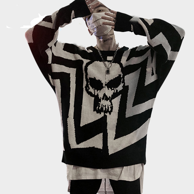 2019 Men Skull Printed Hip Hop Sweater Streetwear - freakichic