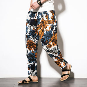 Men's New Chinese Wind Disc Buckle Pants Large Size Ethnic Wind Cotton Trousers