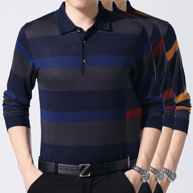 Lapel striped thin men's sweater - freakichic
