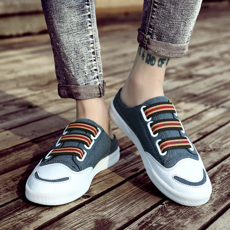 2019 new men's fashion casual half-drag canvas shoes breathable shoes - freakichic