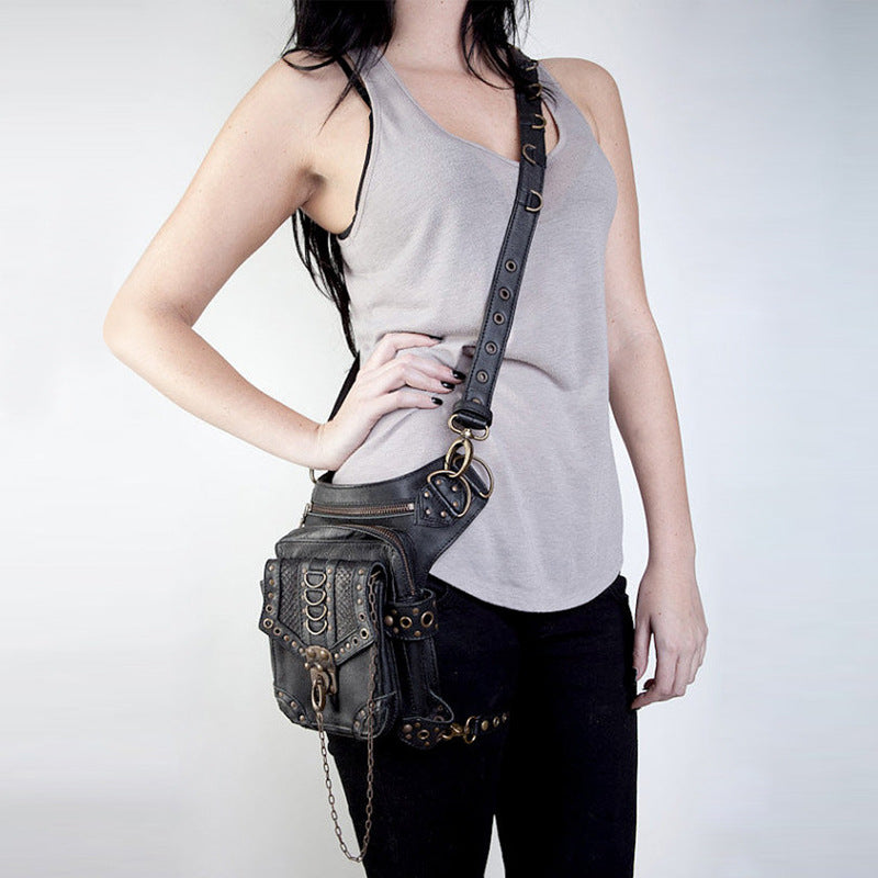 Unisex Black Leather Steampunk Leg Thigh Hip Bag