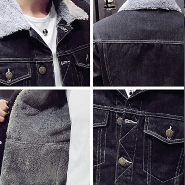 Large size plus velvet thick denim jacket - freakichic