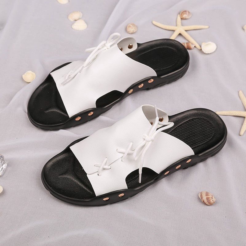 Summer new men's sandals and slippers trend artificial PU slippers