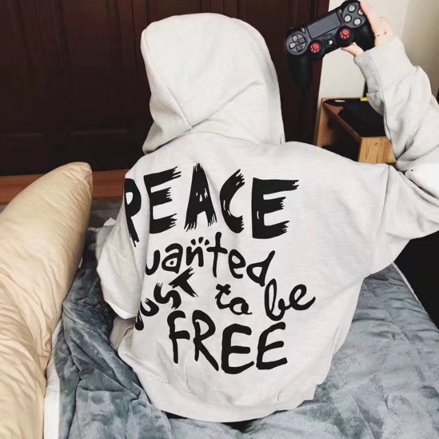 Men Loose Hip Pop Style Peace Hoodies - freakichic