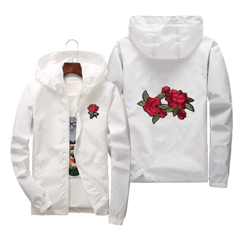 men women jacket windbreaker rose jackets - freakichic