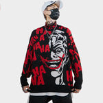 Funny Clown 3d Print Sweaters Stand Collar Knitted Coat - freakichic
