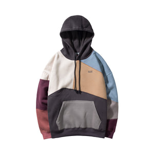 Unisex Patchwork Hiphop Pullover Hoodie
