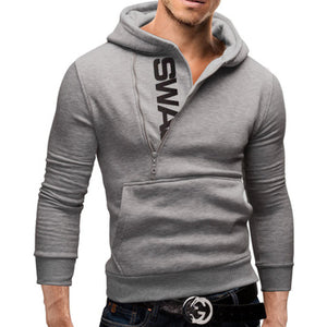 Side zipper hit color hooded plus velvet sweater