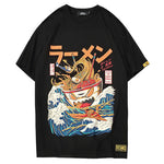 Hip Hop T- Shirts Noodle Ship Short Sleeve Casual Top Cotton Cartoon Streetwear T-shirts - freakichic