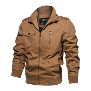 Military Style Fashion Stand Collar Multi-Pockets Buttons Decorations Tactical Jacket For Men
