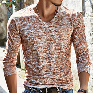 Men's V-neck print t-shirt casual bottoming shirt