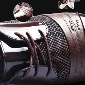 Men 's Fashion Retro Breathable Business Casual Leather Shoes Plus Size 37-47 - freakichic