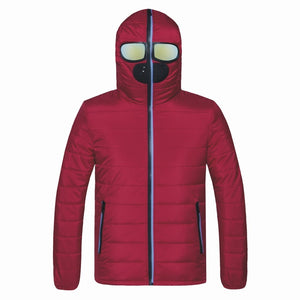 Men Parkas with Glasses Padded Hooded Coat - freakichic
