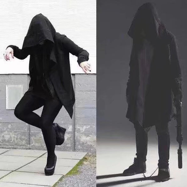 Spring Dark Men's Trench Coat Men's Long Pleated Witch's Cloak