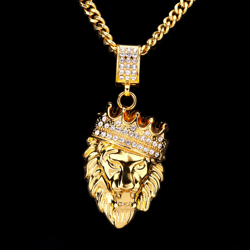 Tide brand diamond lion head hip hop rap jewelry necklace pendant