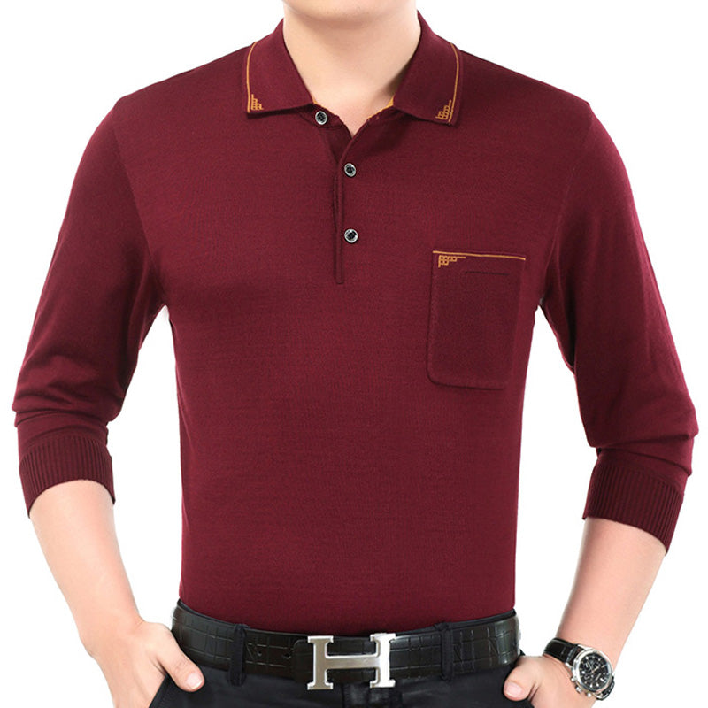 Men's Solid Color Casual Slim Long Sleeve Thin Sweater