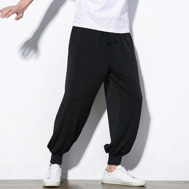 Chinese Style Mens Loose Casual Pants Solid Color - freakichic