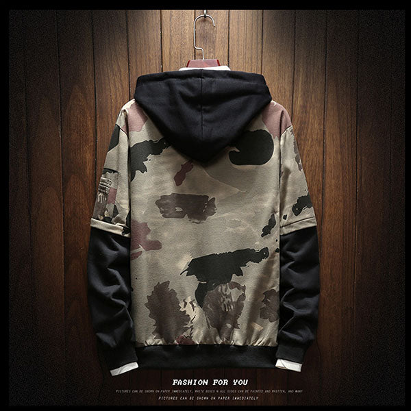 Loose fake two-piece sweater men's hooded camouflage top - freakichic