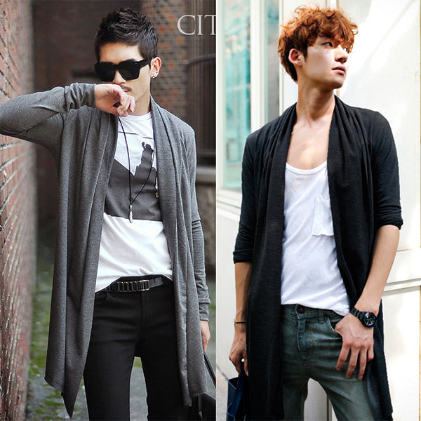 Male pull the wind and long cardigan - freakichic