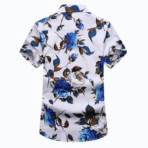 Mens Shirt Slim Fit Short Sleeve Floral Shirt Mens Clothing Trend Plus Size