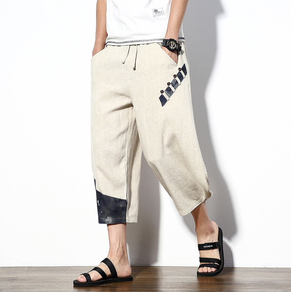 New Japanese linen men's nine pants white wall wind wide leg pants 9 points original pants