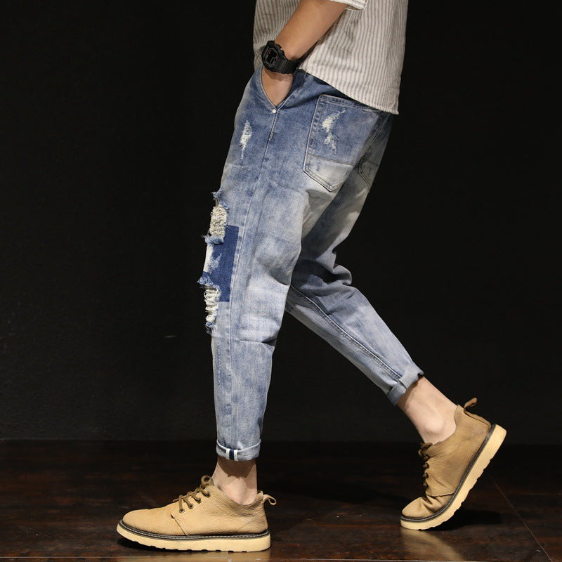 Spring new men's jeans harem pants large size loose Japanese casual pants