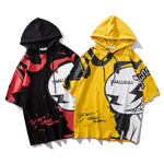 2019 bat sleeve shirt Tide brand hip hop loose cartoon couple hooded T-shirt - freakichic