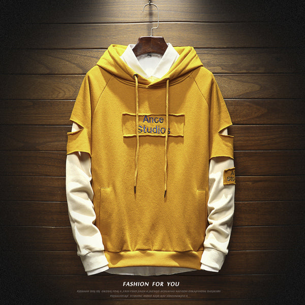 f1fae5a0f1604 Loose round neck stitching hoodie couple sweater - freakichic