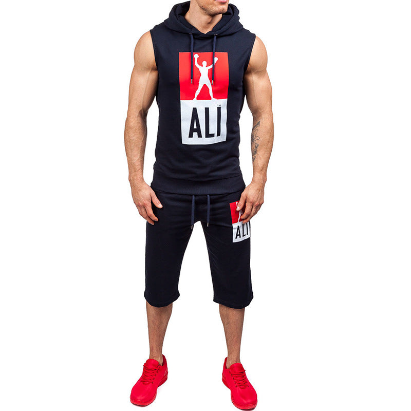 Men Tracksuit Printed Track Gym Suit set - freakichic