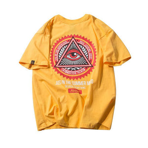 Eye of Godfather Triangle Printed Casual Cotton Streetwear T Shirts - freakichic