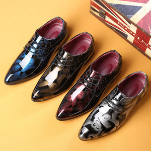 Men Fashion Bright Shoes Patent Leather Business Shoes - freakichic