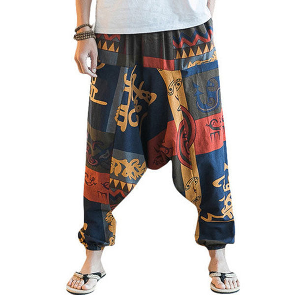 2019 men's cotton and linen large size wide leg pants - freakichic