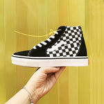 2019 new black and white plaid high canvas shoes - freakichic